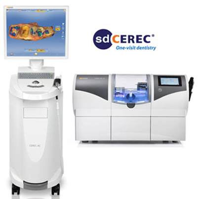 Photo of CEREC same-day crowns digital scanner and computer, and the milling machine, available for same day crowns from Mike Malone DDS in Lafayette, LA