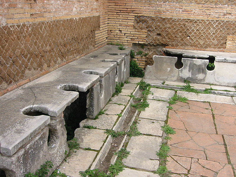 Public latrines in Ancient Rome.