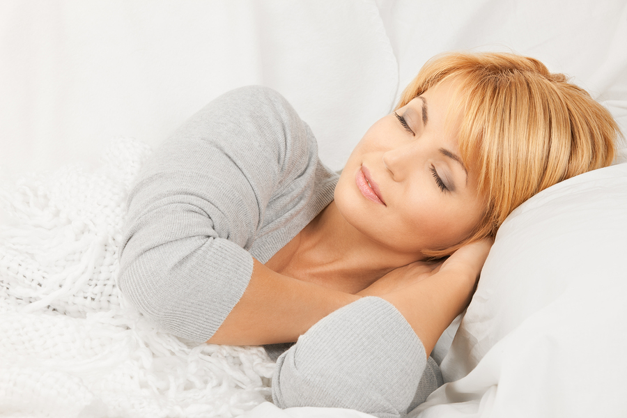 bright closeup picture of sleeping woman face